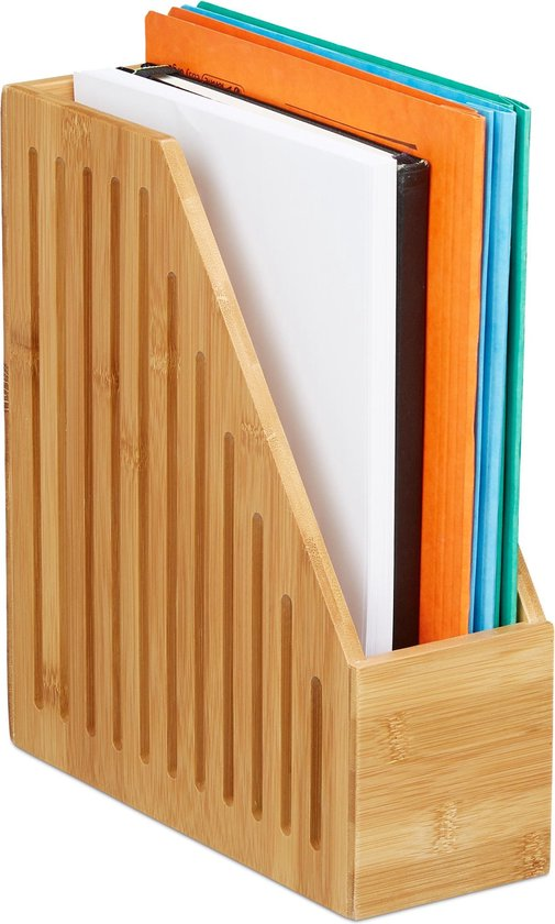 relaxdays tijdschriftenhouder bamboe - A4 tijdschriftcassette - tijdschrifthouder - hout