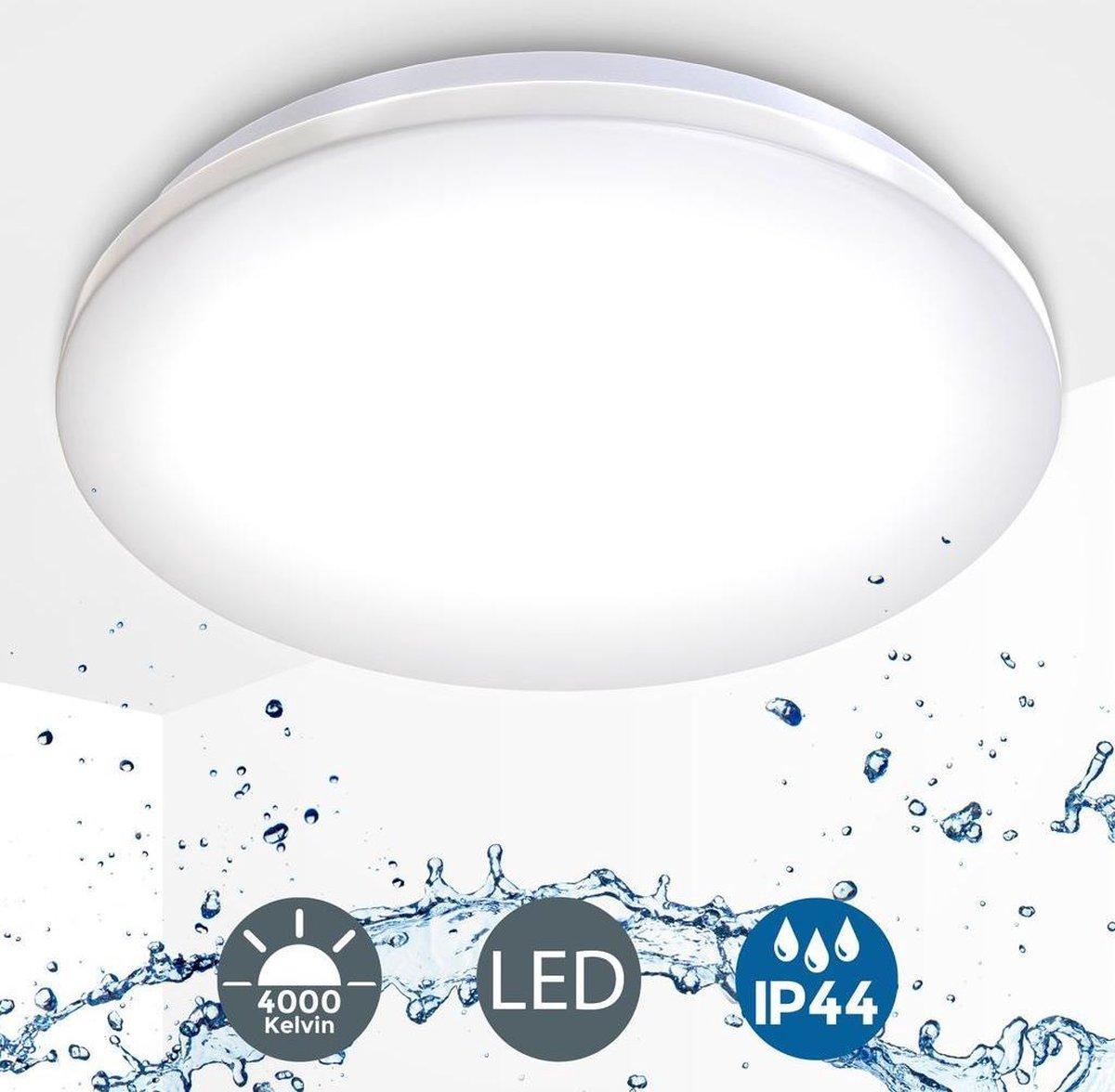 B.K.Licht - Plafondlamp - badkamer - plafoni re - IP44 - wit -  29cm - 4.000K - 1.200Lm - 12W LED
