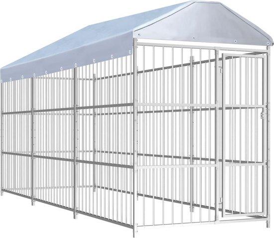 Hondenkennel voor buiten met dak 450x150x200 cm