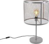 QAZQA cage - Tafellamp met lampenkap - 1 lichts - H 60 cm - Grijs