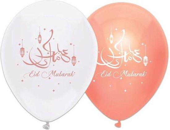 6x stuks Eid Mubarak thema ballonnen wit/roze 30 cm - Suikerfeest/Offerfeest versieringen/decoraties