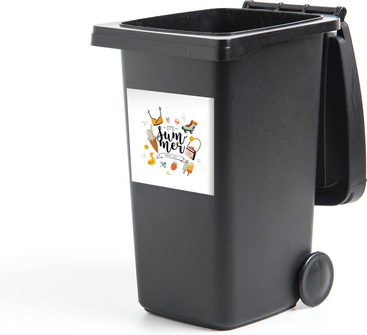 Container sticker Rolschaatsen - Zomer - Bikini - 40x40 cm - Kliko sticker