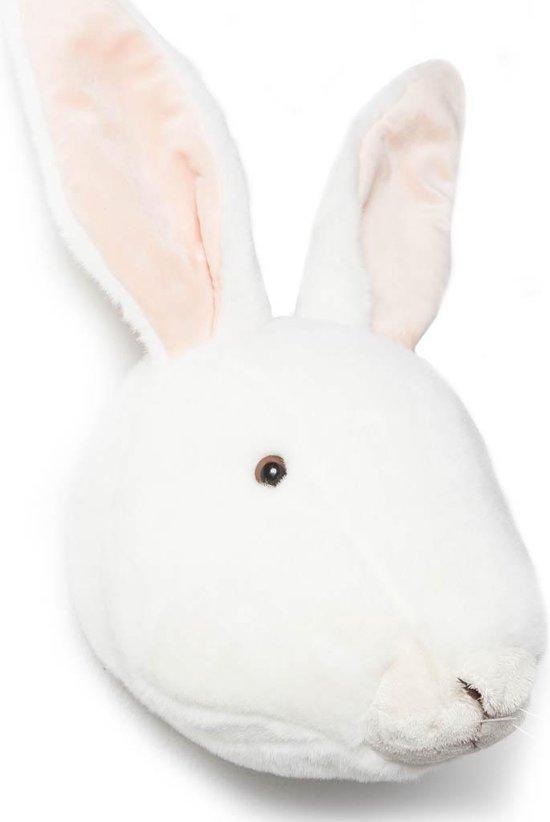 Wild&Soft- Wanddecoratie dierenkop pluche konijn wit Alice