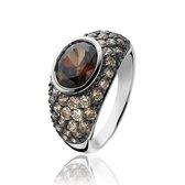 ZINZI zilveren ring bruin ZIR1045C
