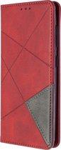 Samsung Galaxy A41 Hoesje - Geometric Book Case - Rood