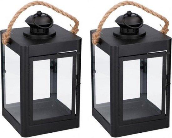 Bol Com 2x Stuks Zwarte Lantaarns Met Koord Tuin Woonkamer Decoratie 19 X 35 Cm