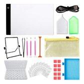 Diamond painting pakket volwassenen - volledig starterspakket - diamond painting luxe accesoires box - A4 led lightpad