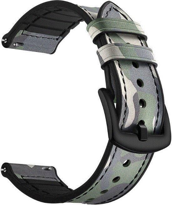 Camouflage bandje groen leer/siliconen geschikt voor Samsung Galaxy Watch 46mm