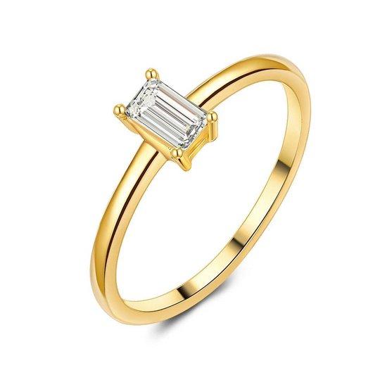 Twice As Nice Ring in 18kt verguld zilver, baguette zirkonia, solitaire  58
