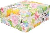 Cadeaupapier waterverf bloemen en vlinders - 200 x 70 cm - kadopapier / inpakpapier