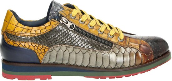 Lorenzi heren sneaker - Bruin multi - Maat 43