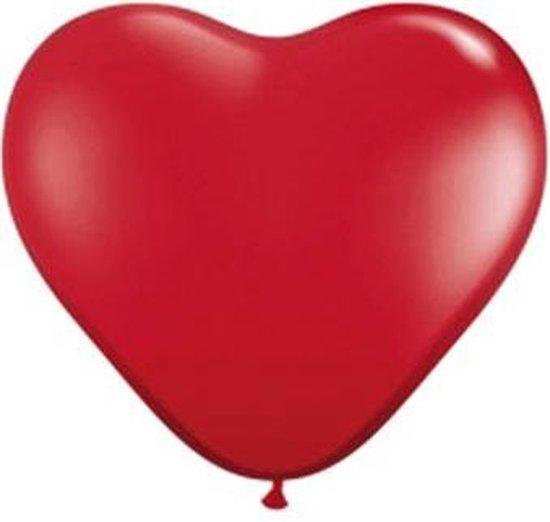 15x Qualatex hartjes ballonnen rood 28cm - Valentijn/bruiloft versiering