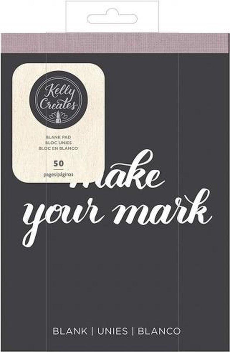 Kelly Creates Papierblok, Glad Wit Blanco Papier 15,2 cm x 20,3 cm, 50 Pagina's, Oefen Handlettering