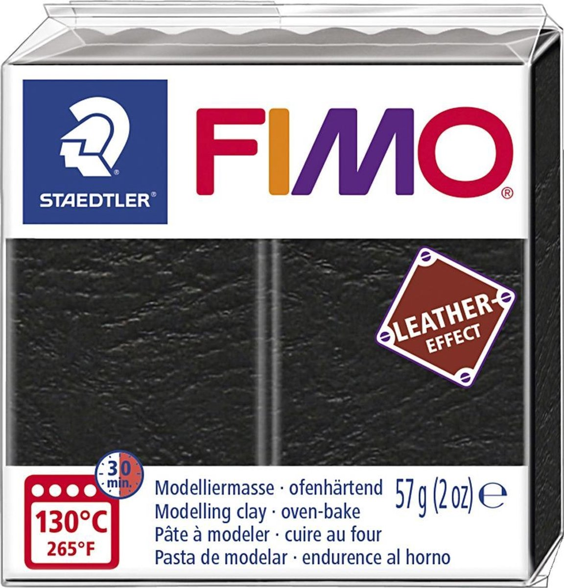 Fimo Effect leather 57 g zwart 8010-909