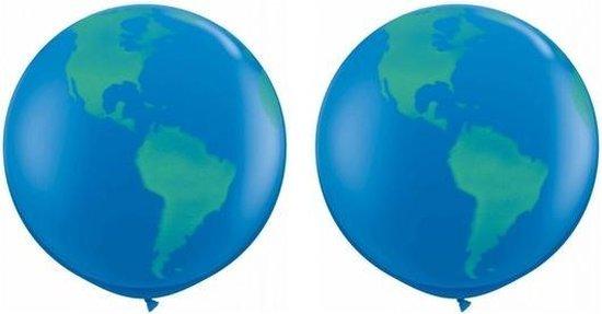 2x Mega ballonnen wereldbol 91 cm - Globe/aarde thema ballonnen