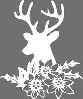 Raamsticker herbruikbaar statisch folie Rendier met bloemen   Rosami