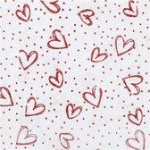 Hobbyvilt, A4 21x30 cm, dikte 1 mm, wit, rood glitter harten en stippen, 10vellen