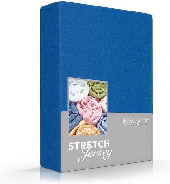 Luxe Hoeslaken - Kobalt Blauw - 140x200 cm - Jersey Stretch - Romanette