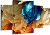 Canvas schilderij Tulp   Blauw, Grijs   160x90cm 4Luik