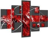 Glasschilderij Art   Rood, Grijs   100x70cm 5Luik   Foto print op Glas    F005771