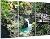 Canvas schilderij Brug | Blauw, Groen, Grijs | 120x80cm 3Luik