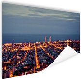 Barcelona skyline in de avond Poster 90x60 cm - Foto print op Poster (wanddecoratie woonkamer / slaapkamer) / Steden Poster