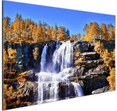 Waterval in Noorwegen Aluminium 30x20 cm - klein - Foto print op Aluminium (metaal wanddecoratie)