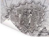 Historische zwart witte stadskaart van Groningen Tuinposter - Plattegrond 40x30 cm - klein - Tuindoek / Buitencanvas / Schilderijen voor buiten (tuin decoratie)