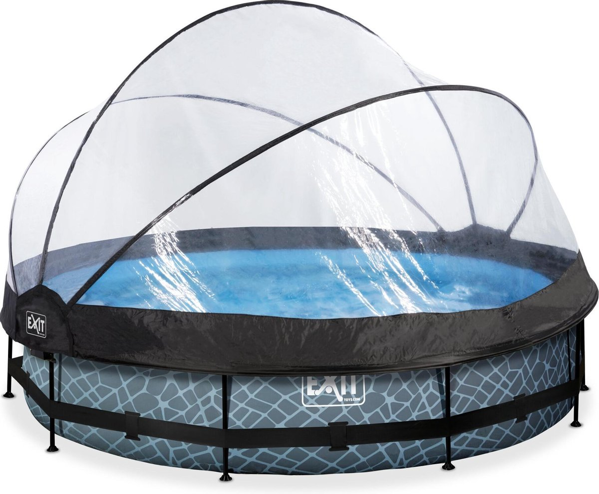 EXIT Stone zwembad ø360x76cm met overkapping en filterpomp - grijs