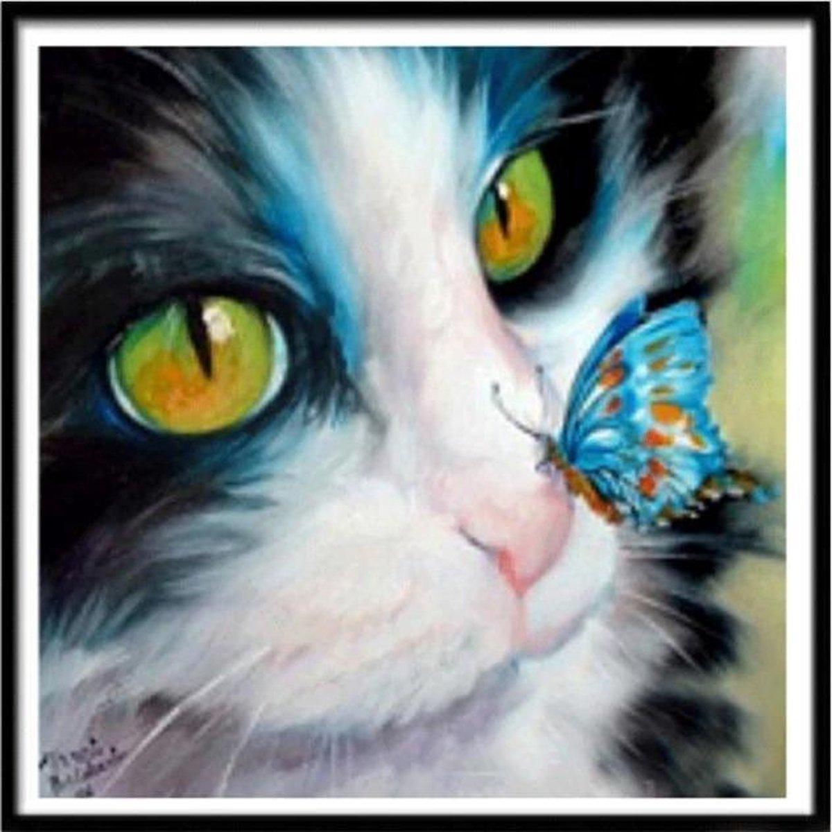 Premium Paintings - Kat Met Vlinder - Diamond Painting Volwassenen - Pakket Volledig / Pakket Full - 40x40 cm - Moederdag cadeautje