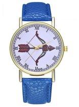 Hidzo Horloge Pijl en Boog Ø 38 - Blauw - Kunstleer - In Horlogedoosje