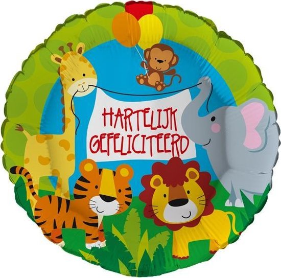 Folieballon Jungle Hartelijk gefeliciteerd 43 cm