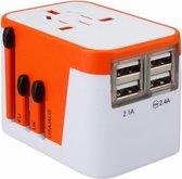 Lionheart Travel Adapter Orange-NL-4 USB poorten-150 Landen-2.1ampère