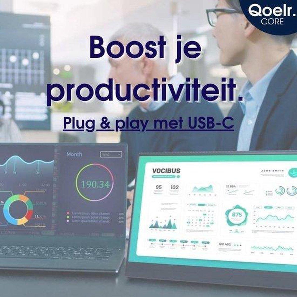 Qoelr Core® Compacte Portable Monitor   Draagbare Monitor   Voor gaming en voor op het werk   USB-C en Micro HDMI   15.6 inch   Mét Gratis Kabelpakket en PU Case kopen