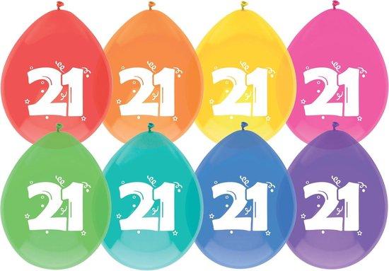 """Haza Original Ballonnen Multicolor Met Opdruk """"21"""" 30 Cm 8 Stuks"""