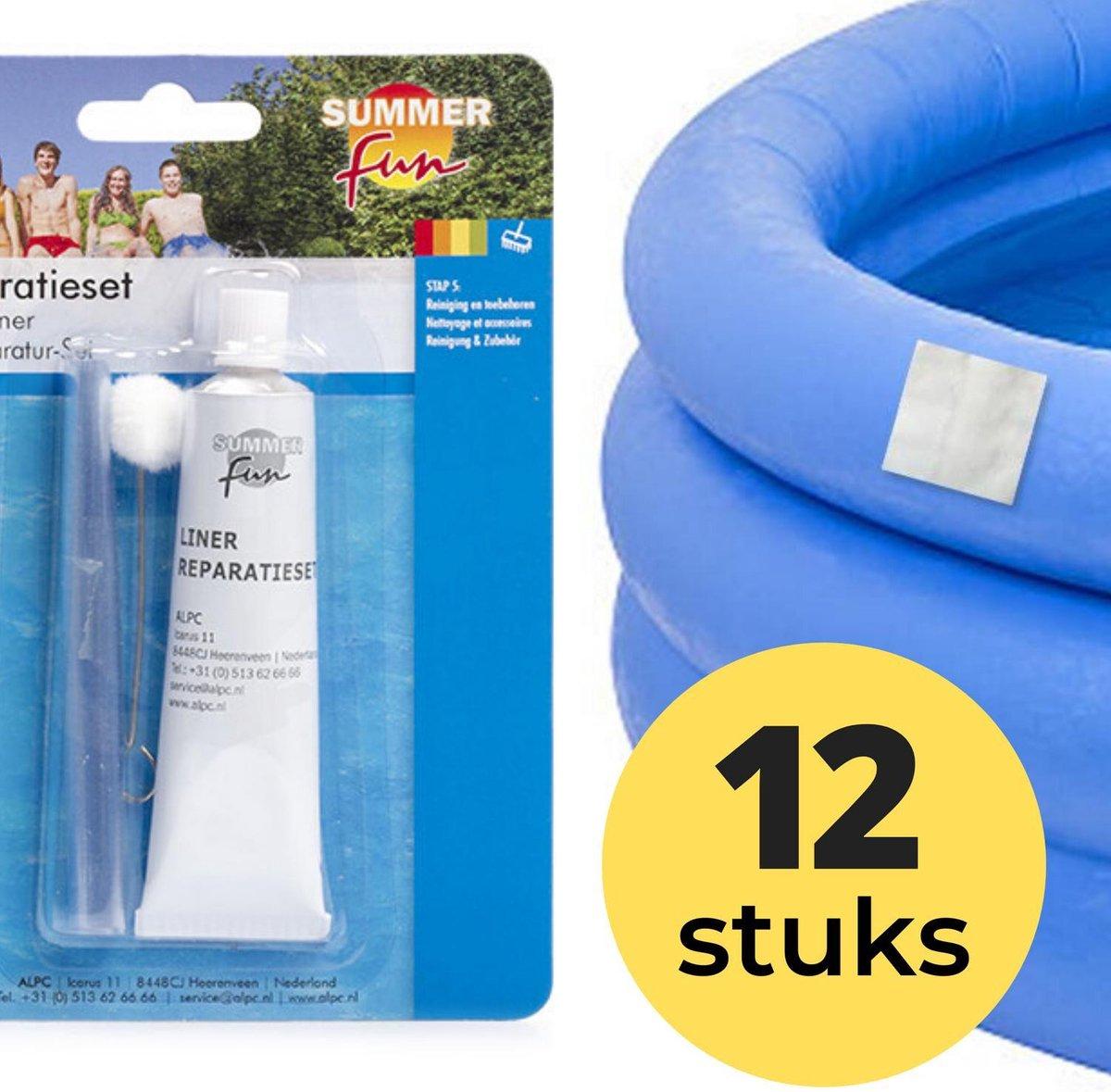 12x Zwembad Onderhoud - Liner Lijm Plakkers Reparatie Set - Geschikt voor Opblaasbaar Zwembad en speelgoed - Pless®