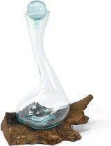 Wijn Decanteerkaraf   Wijn Decanteren   Karaf op Hout   Handgemaakt met Gesmolten Glas - HomeDays