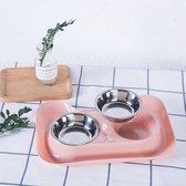 dubbele voederbak in roze - kat hond - eet drinkbak - 2 bakken + houder