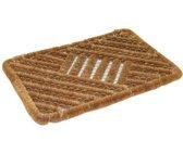 2x Stuks deurmatten/vloermatten staaldraad/kokos bruin 60 x 40 cm voor binnen en buiten - Kokosvezel droogloopmatten