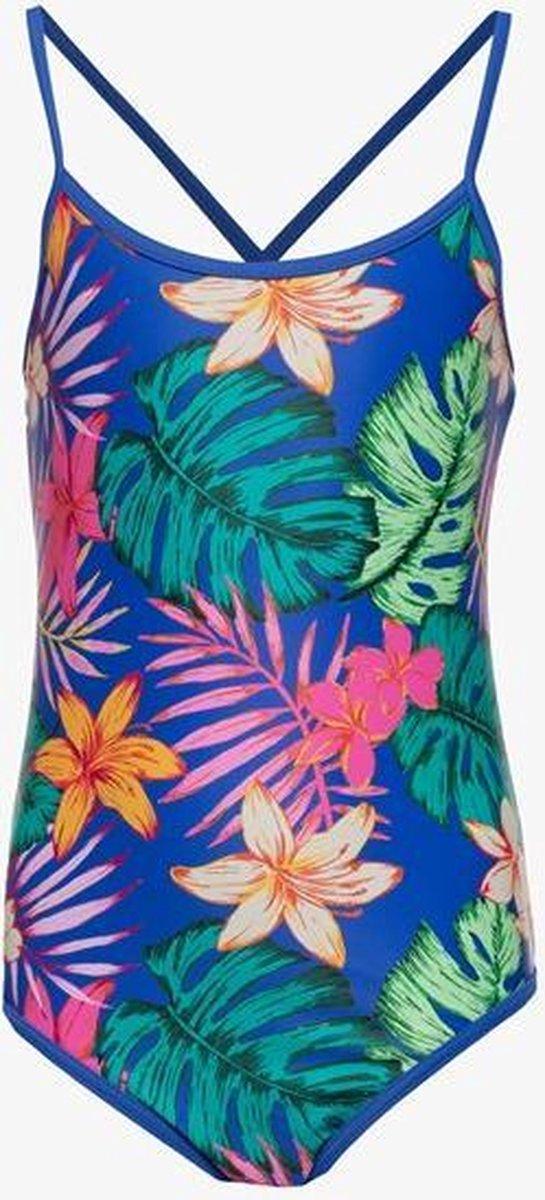 Osaga meisjes badpak met bloemenprint - Blauw - Maat 140
