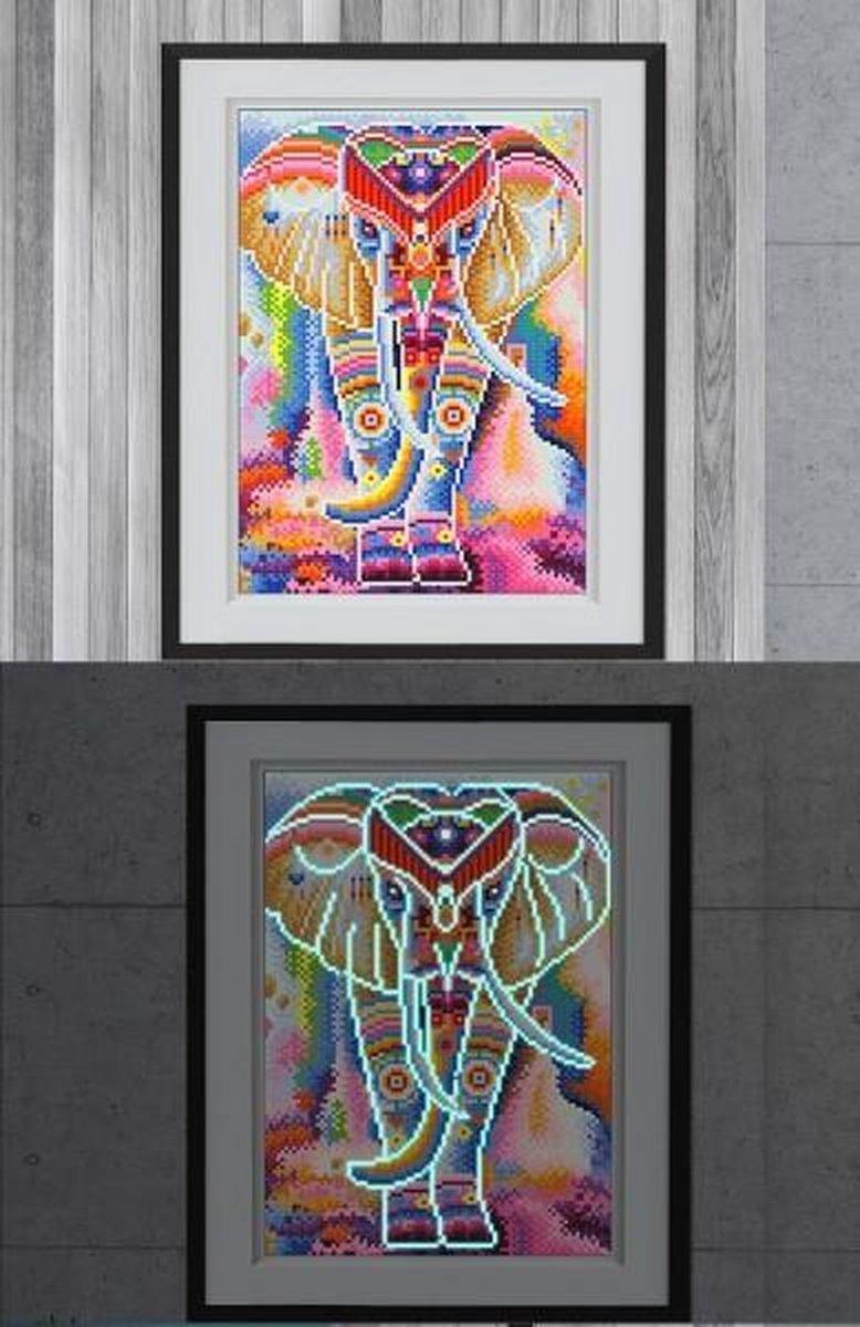 Glow In The Dark Diamond Painting Volwassenen/Kinderen - Ronde Steentjes - Volledig Pakket - Hobby - Dieren - Kleurrijke olifant 35x25cm