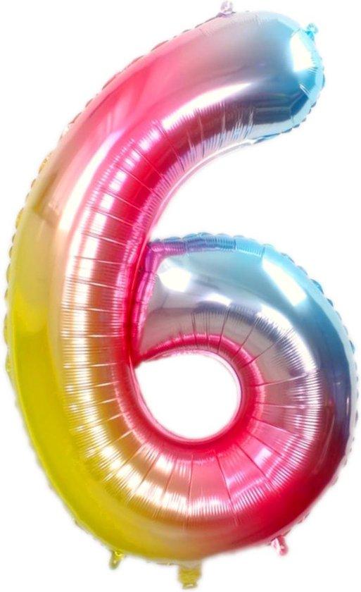 Folie Ballon Cijfer 6 Jaar Regenboog 36Cm Verjaardag Folieballon Met Rietje