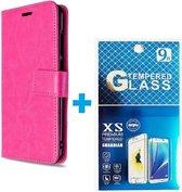 Nokia 3.4 hoesje book case + 2 stuks Glas Screenprotector roze