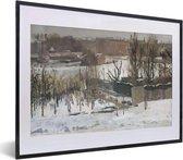 Foto in lijst - Gezicht op het Oosterpark in Amsterdam in de sneeuw - Schilderij van George Hendrik Breitner fotolijst zwart met witte passe-partout klein 40x30 cm - Poster in lijst (Wanddecoratie woonkamer / slaapkamer)