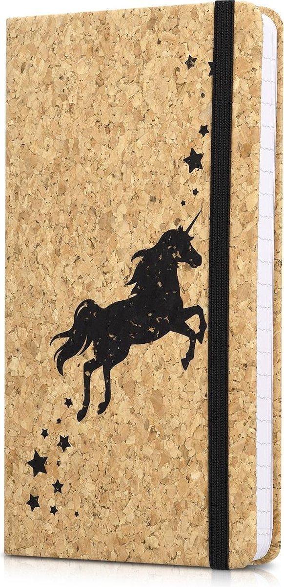 Navaris notitieboek van kurk met lijntjes - Notebook met elastieken sluiting, binnenvak en bladwijzer - 18 x 13 cm - 100 bladzijden - Eenhoorn