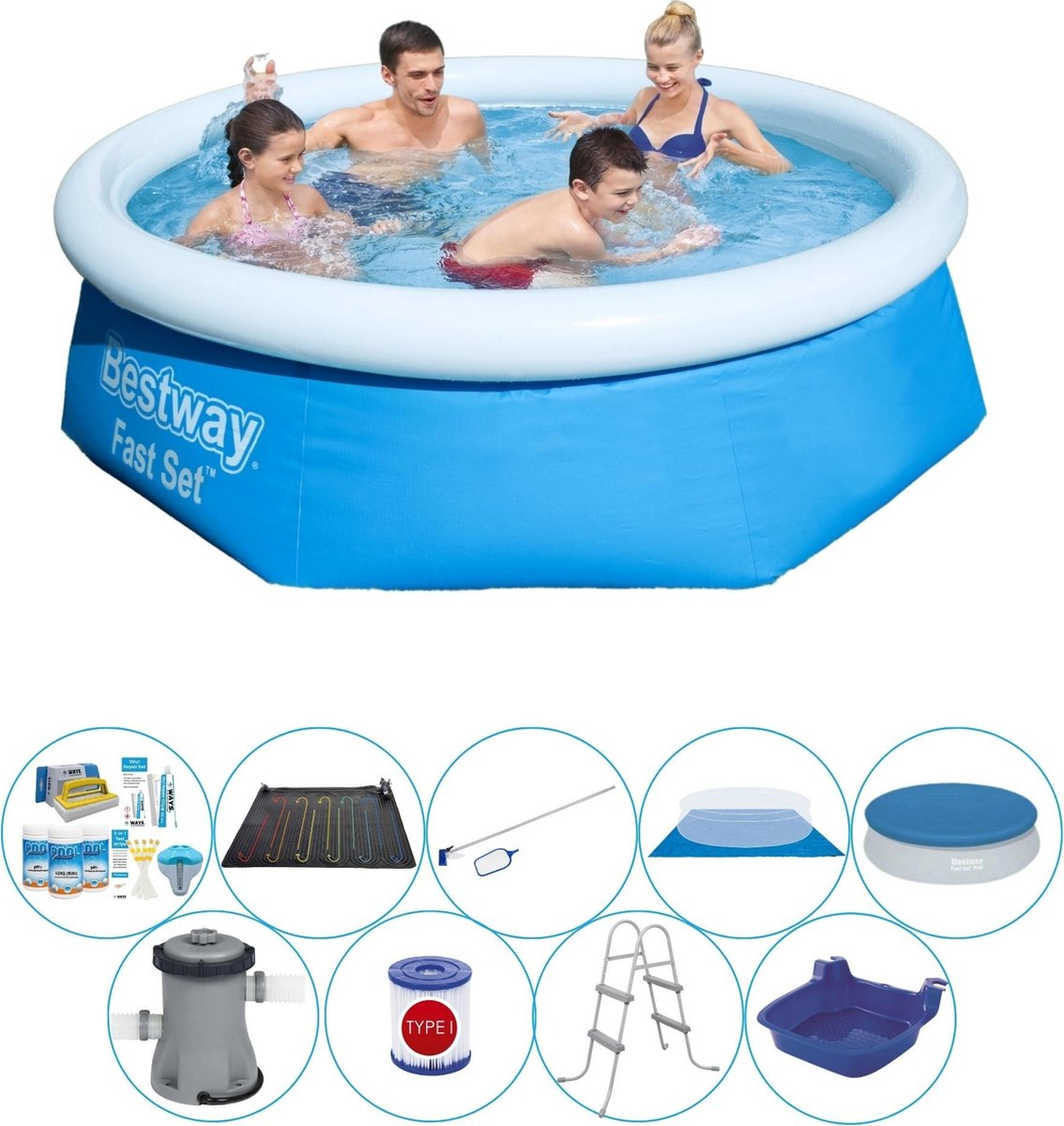 Bestway Fast Set Rond 244x66 cm - Slimme Zwembad Deal