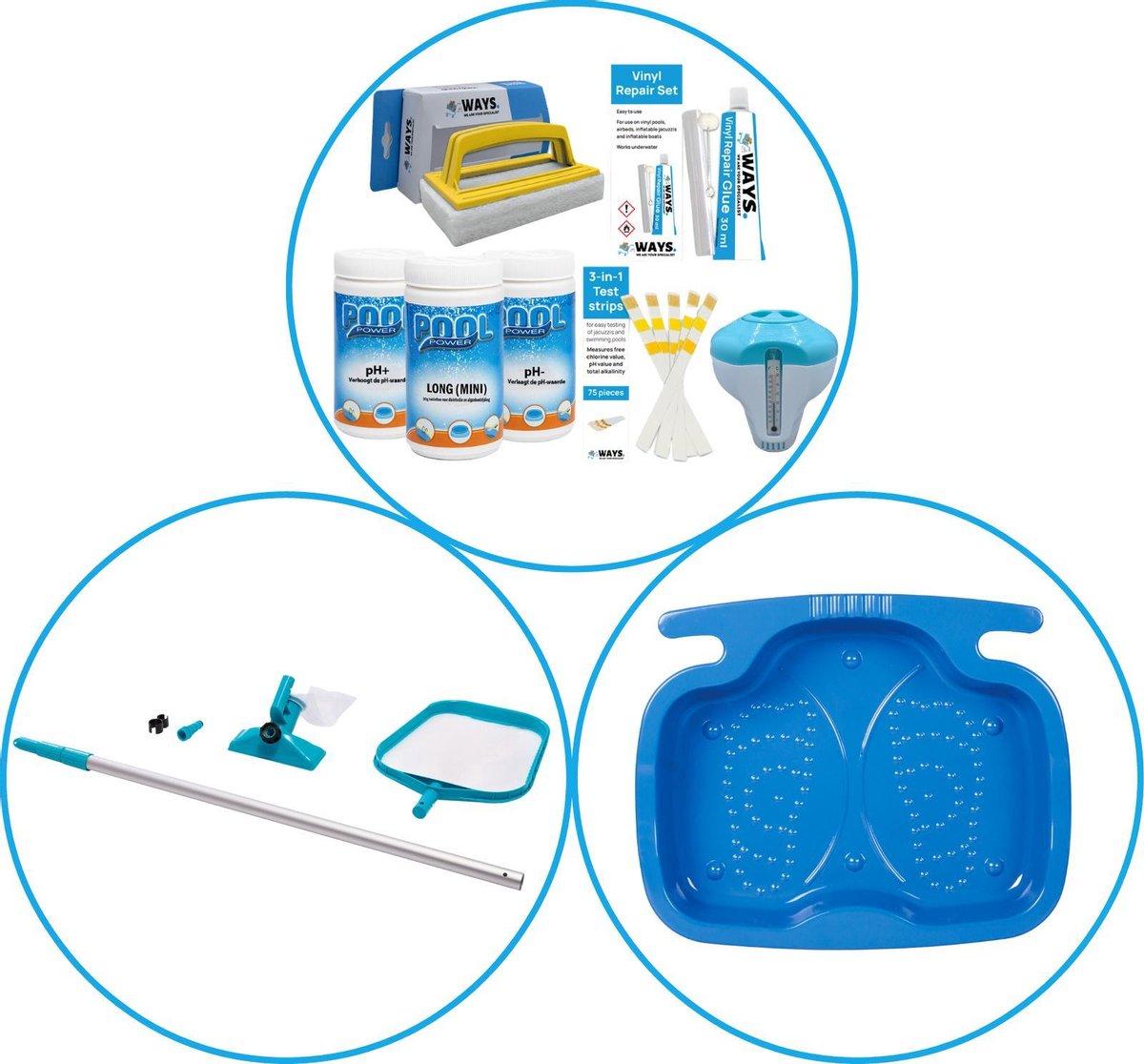 Zwembad Accessoirepakket 3-delig - WAYS Onderhoudspakket & Onderhoudsset & Voetenbad