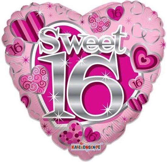 Witbaard Folieballon Sweet 16 Hart 46 Cm Roze