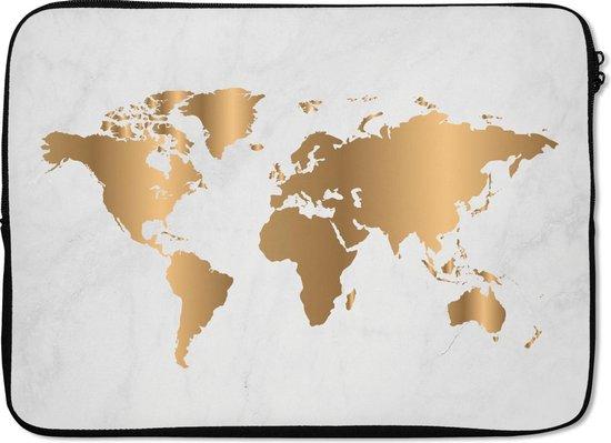 Laptophoes 14 inch - Wereldkaart - Goud - Marmer - Laptop sleeve