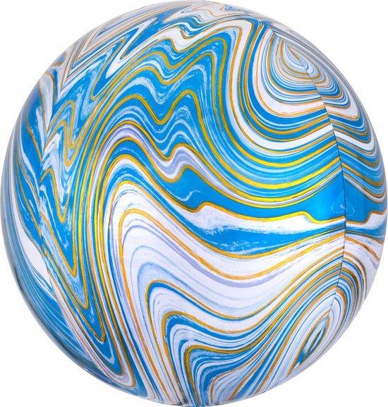 Folieballon Orb Marmer Blauw - 38 centimeter